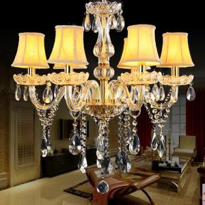 China Gold candelabra crystal chandelier with lamp shades (WH-CY-36) on sale