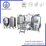 German Style Craft Beer Brewing Equipment With Fermentation Tanks And Hot Water Tank