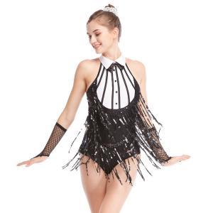 China Black-White Stunning Tap Costume Sequined-Fringes Mock Neck Dance Dress Performance Wear on sale