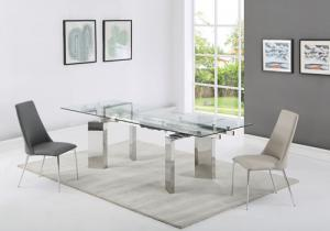 Quality Dining Table Clear Tempered Glass Stainless Steel Legs For Sale