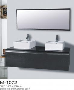 China Three Drawer Bathroom Furniture Vanities Mirror Oversized Black Colored on sale