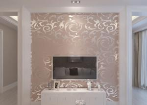 China Embossed Silver Leaf Pattern Washable Vinyl Wallpaper for Household , Hotel on sale