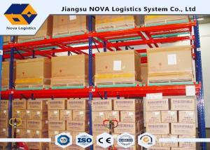 China ISO 9001/ 9004 Push Back Pallet Racking Steel Storage Shelving 2 Uprights Frame on sale