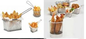 China Mini Perforated Baking Tray Wire Mesh Deep Fat Fryer French Fries Holder Basket on sale