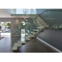 China low cost staircase design with wooden tread glass balustrade on sale