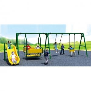 China Steel Children Play Swing Set for Outdoor Playground Equipment with small outdoor slide and swing for park and preschool on sale