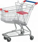 Trole americano das compras na mercearia do baixo aço carbono com grade baixa/bandeja inferior