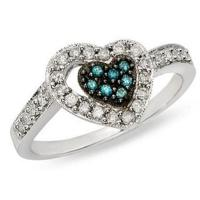 Blue topaz and White Diamond 14K White Gold Heart Ring