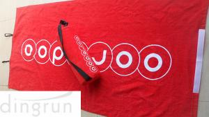 China Red Luxurious Velour Custom Printed Beach Towels Attached Foam Pillow / Carry Strap on sale