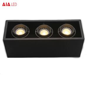 China Square revolve 3xGU10 Holder black adjustable spotlight interior GU10 base spot light for home on sale