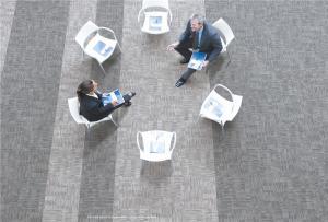 China Heavy Use Vinyl Carpet Tiles , Wooden Carpet Flooring Three Dimensions Surface Treatment on sale