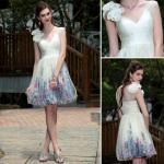 La robe de soirée de robe de boule de style/demoiselles d'honneur mûres imprimées par décolleté en V court habillent -82687