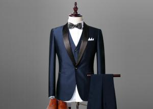 China Men Navy Blue Tuxedo Dinner Suit 100% Wool Shawl Lapel Back Vent Vent S-XXXL Size on sale