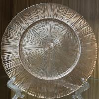 New style custom decor rose gold ray glass charger plates wedding party