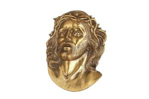 China Jesus Portrait Personalized Grave Decorations , Grave Headstone Decorations Painted Brass on sale