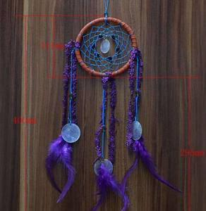 China New Dream Catcher with Purple Floral Feather Car Wall Hanging Decor Ornament Crafts on sale