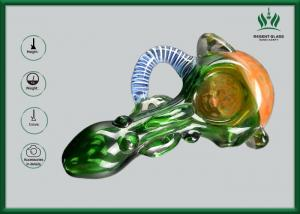 China Out Spoon Borosilicate Glass Hand Smoking Pipes Green Fume For Tobacco Smoking on sale