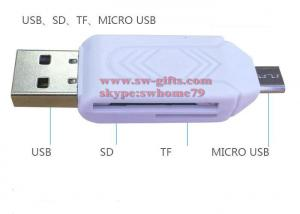 China 2 in 1 USB OTG Card Reader Universal Micro USB OTG TF/SD Card Reader Phone Extension Headers Micro USB OTG Adapter on sale