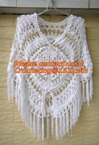 China Womens Crochet Poncho Shawl Fringe Girl Floral Sweater Poncho Wrap, ponchoes, crochet on sale