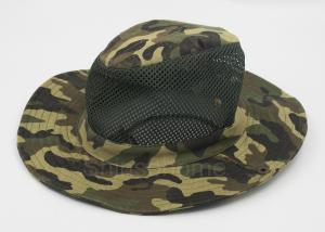 China Cotton Mesh Camo Fishing Bucket Hats For Men , Customized Label on sale