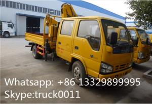 China ISUZU 4*2 double cabs 2.5tons XCMG telescopic boom mounted on truck for sale, best price ISUZU truck with XCMG crane on sale