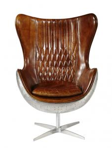 China Vintage Top Grian Real Leather Office Desk Chair Aluminium Back Metal Base on sale