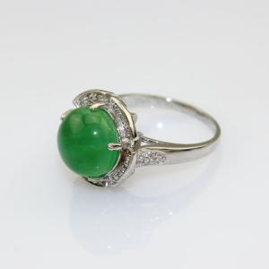 China 925 Sterling Silver Ring 11mm Round Green Jade Cubic Zirconia(F03) on sale