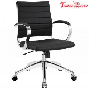 China Mid Back Executive Office Chair , Comfortable Black Leather Office Chair on sale