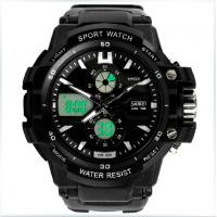 Multifunctional Analog Digital Wrist Watch With Dual Time Zone