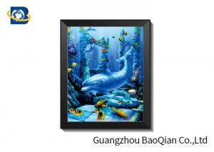China High Definition 3D 5D Lenticular Dolphin Pictures With Black PS Frame on sale