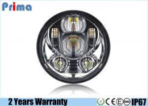 China 6000K Chrome Led Harley Headlight 45W Power IP67 Waterproof DC 10V - 30V on sale