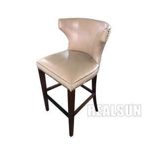 China Solid Wood Modern Leather Counter Stool Chairs High Bar With Wooden Back on sale