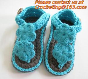 China Boys Girls Crochet Sandal Thongs Slippers Newborn Infant Toddler Prewalker Kids Knitt on sale