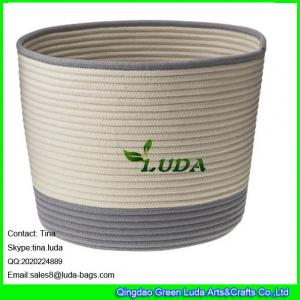 China LUDA large laundry basket striped home cotton cord basket on sale