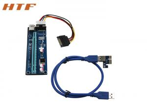 China PCI-E 1x to 16x Riser Card 4pins to SATA Power Supply Cable & USB3.0 30 / 60CM cable for Mining on sale