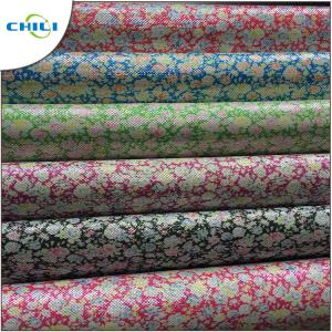 China Wiped Clean Printed Faux Leather Fabric Fade Resistant Consistent Color on sale