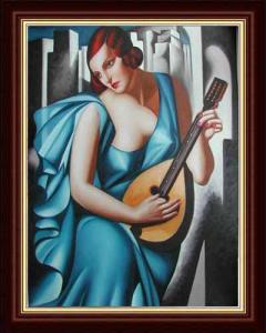 China hand painted blue dressing woman playing music oil painting on canvas on sale
