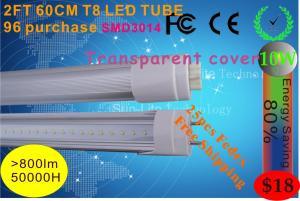 China Hot produce LED TUBE 0.6M T8 led lamp Transparent cover 10W 96leds SMD3014 900LM LED on sale