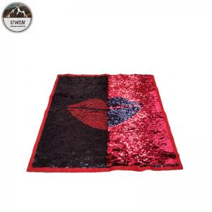 China Fashion Lip Reverse Sequin Patch / Iron On Patches 40*40CM Size Red / Black Color on sale