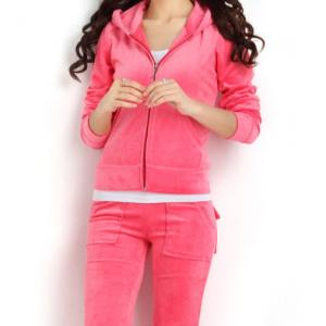 China Customized hot sale brand quality solid color velour tracksuit sports wear women sweatsuit on sale