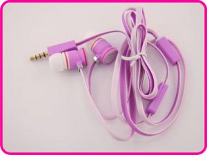 China 3.5mm Stereo Unique Flat Cable Pink Color Metal Earphone, Pink Color Mobile Phone Earphones on sale
