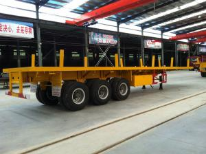 China Stanchions equipped flat bed semi trailer for timer or pipe line transportation on sale