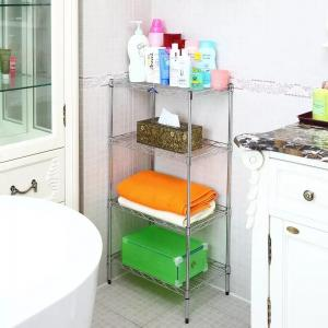 China 4 Layer Wire Bathroom Shelf Unit Chrome Plating For Organizing Or Displaying Accessories on sale