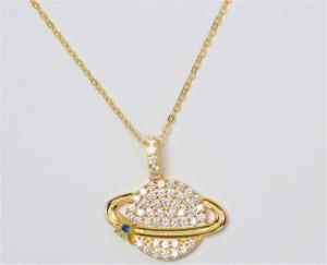 China Korean Jewellery Wholesale 925 Sterling Silver Rhodium Plated Paved CZ Diamond Necklace on sale