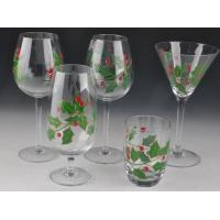 China Colorful Decorated Hand Painted Glass Stemware For Martini Wine on sale