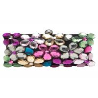 Beautiful Acrylic Flower Evening Clutch Bags Multi Coloured Embellished For Mini Party