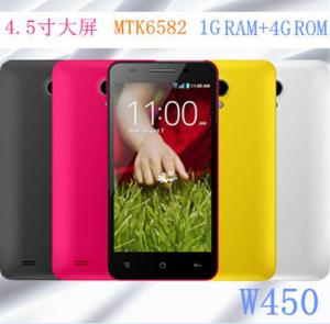 China 4.5 Smart phone 3G network MTK6582 Quad core CPU multi color----W450 on sale