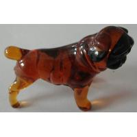 China Colored Handmade Small Glass Animals Figurine , Brown Leg Black Body Dog on sale