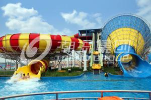Quality Adult Fiberglass Water Slides 16m Height 4 Persons / Time 42*60m Floor Space for for sale