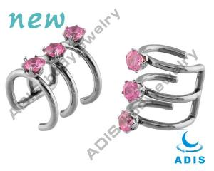 China Non - toxic Fancy 14g Non - Piercing Ear Body Piercings Jewelry Pink Zircon Stone Surgical on sale